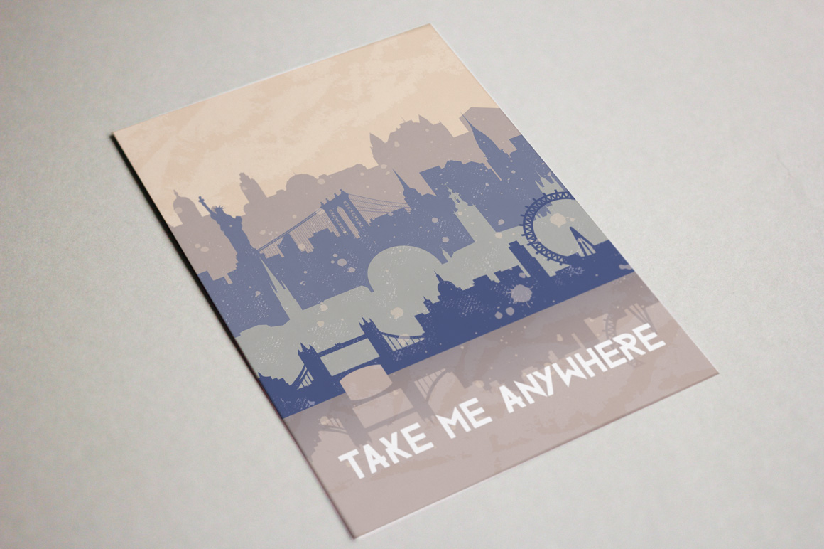 Vintage vector background about travel.  example image 5