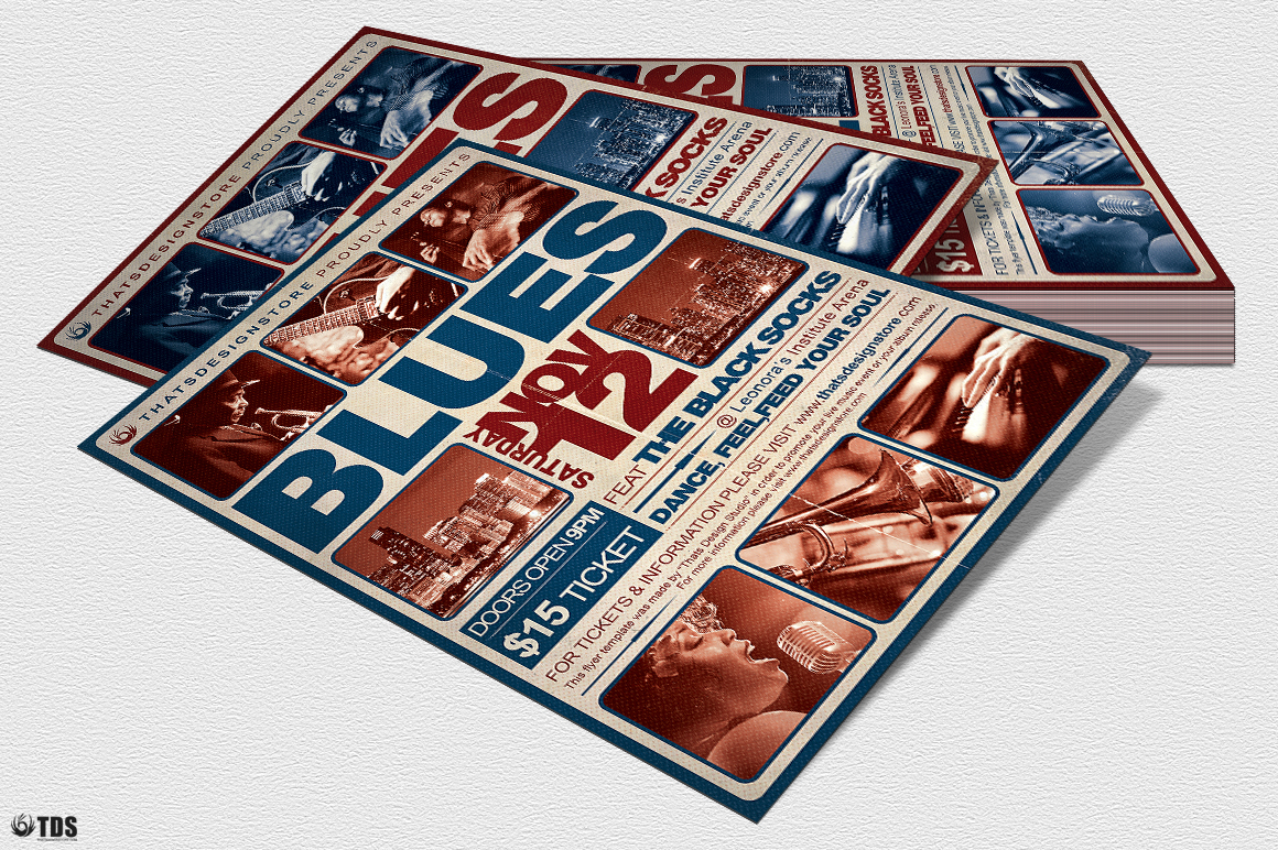 Blues Festival Flyer Template V2 example image 4