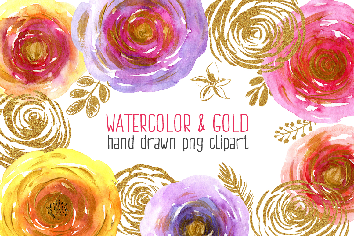 Watercolor & gold flowers, leaves example image 1