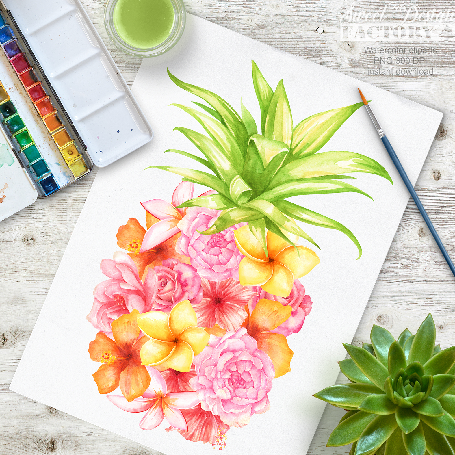 Watercolor pineapple clipart example image 3