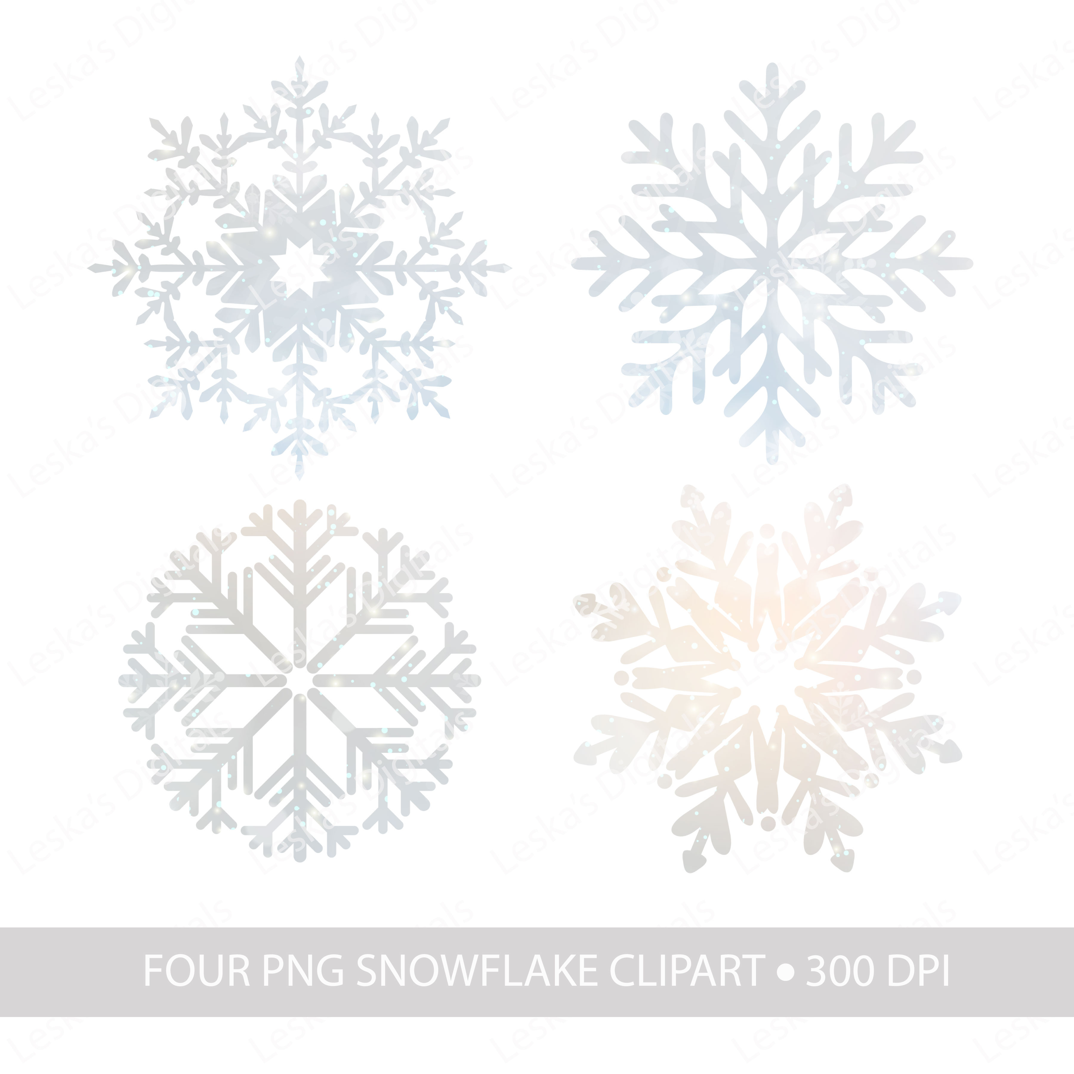 Snowflake Clipart & Winter Digital Paper example image 4