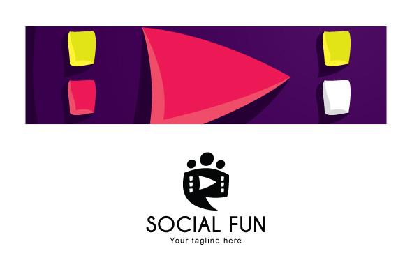 Social Fun - Chat Box Stock Logo Template example image 3