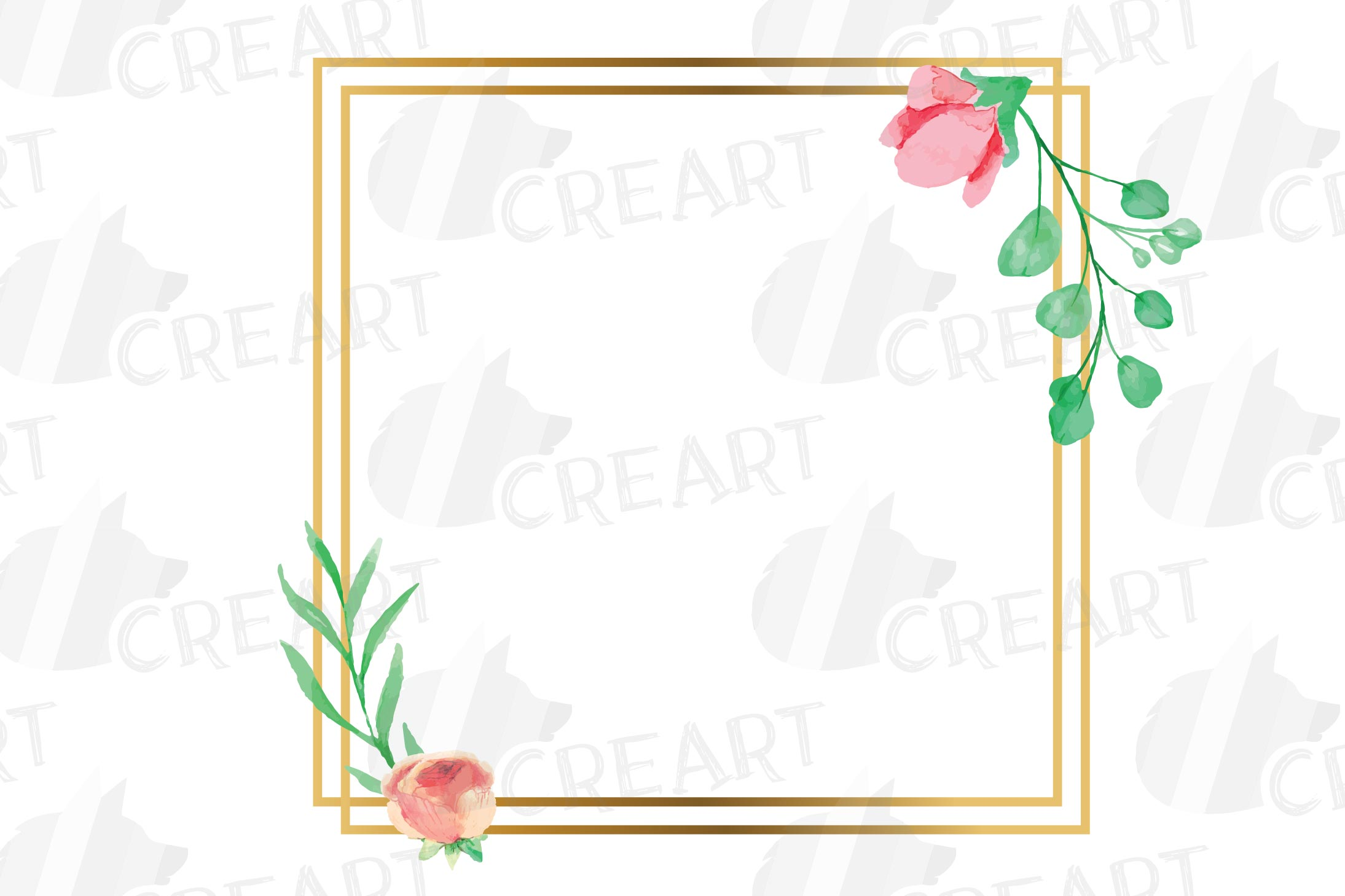 Golden Floral Frames Clip Art. Wedding geometric borders png example image 9