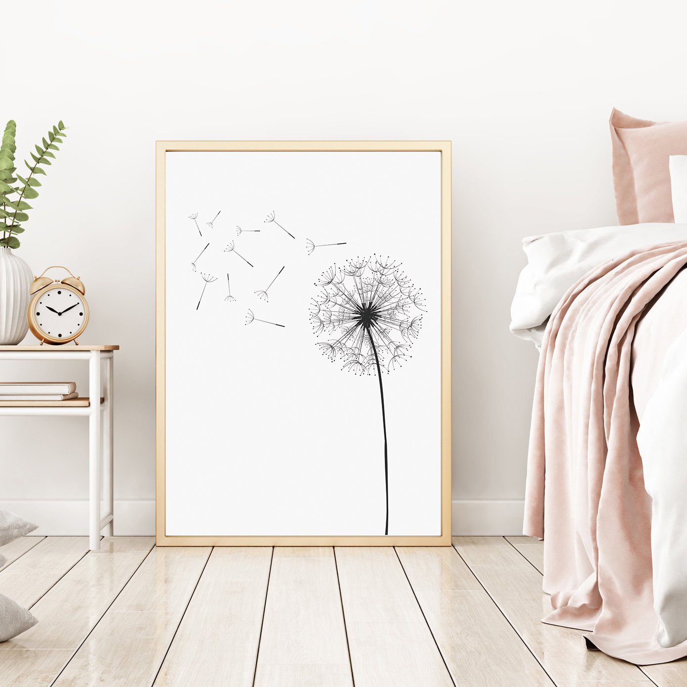 Dandelion Wall Art, Black and White Prints, Monochrome Print example image 2
