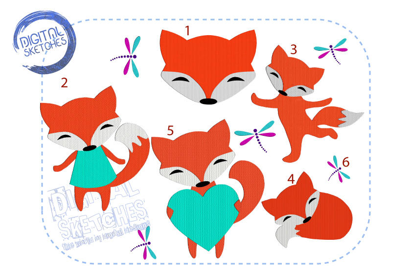 Fox Machine Embroidery Design SET example image 1