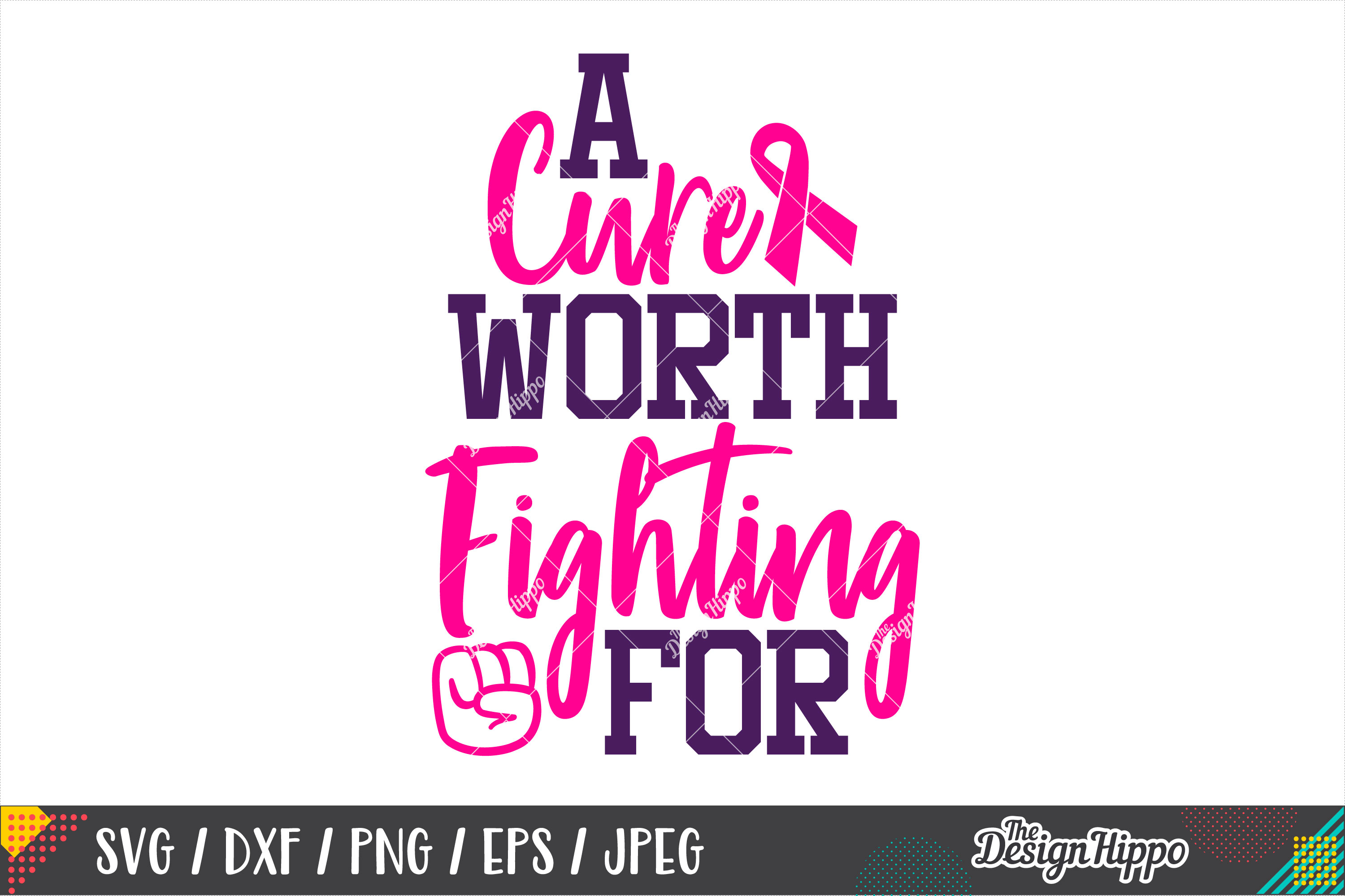 A Cure Worth Fighting For SVG, Breast Cancer Awareness SVG example image 1