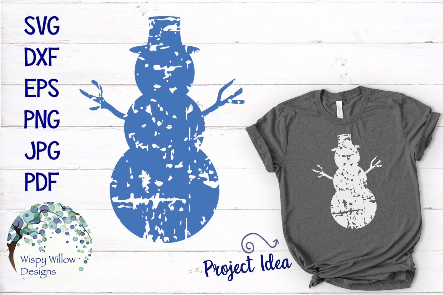 Distressed Grunge Snowman | Winter SVG example image 1