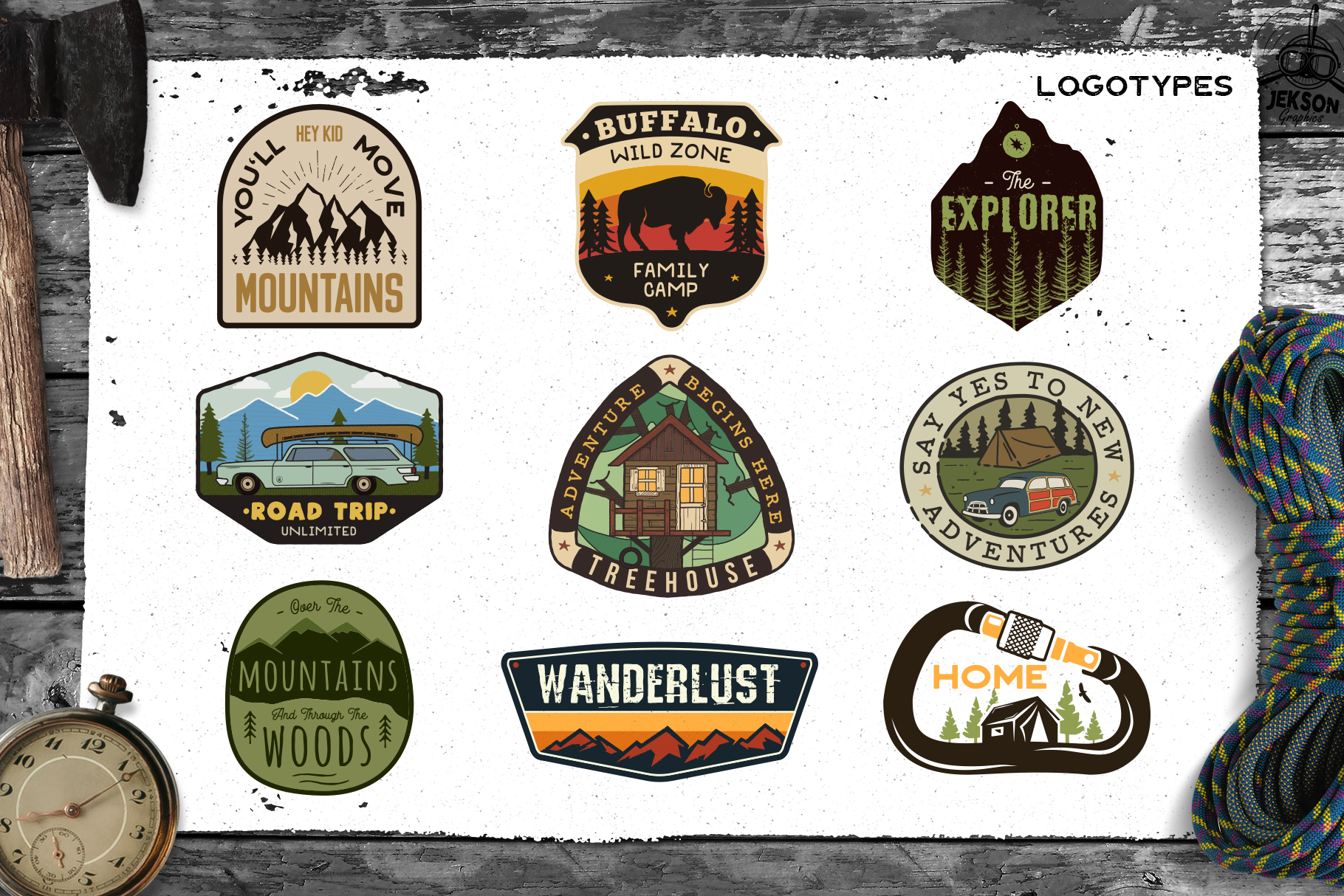 Retro Camp Badges | Adventure Patches. Part 3 | SVG Cut File example image 3