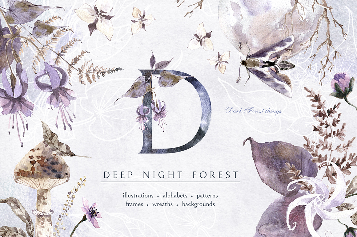 Deep Night Forest graphic kit. example image 1