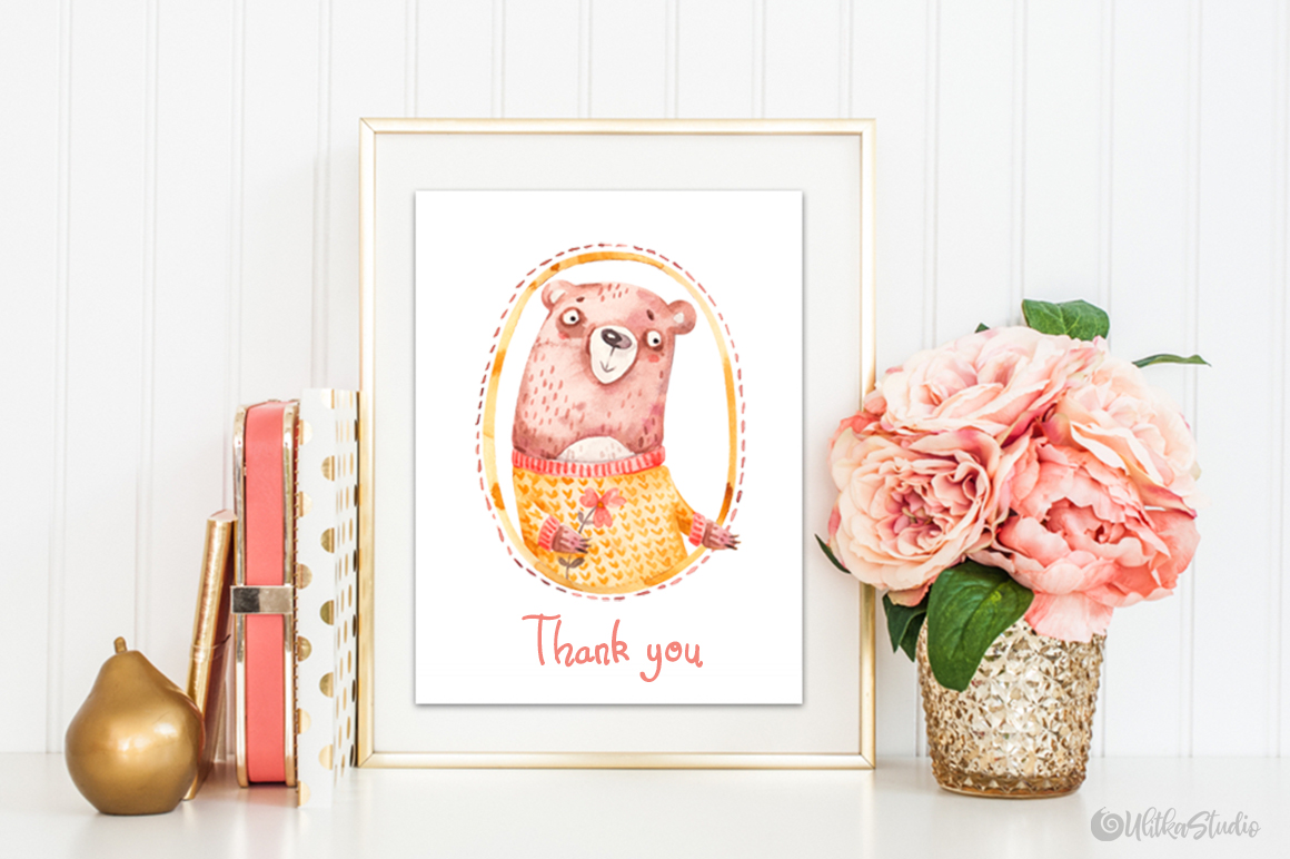 Cozy Valentines Day. Lovely bears watercolor collection example image 20
