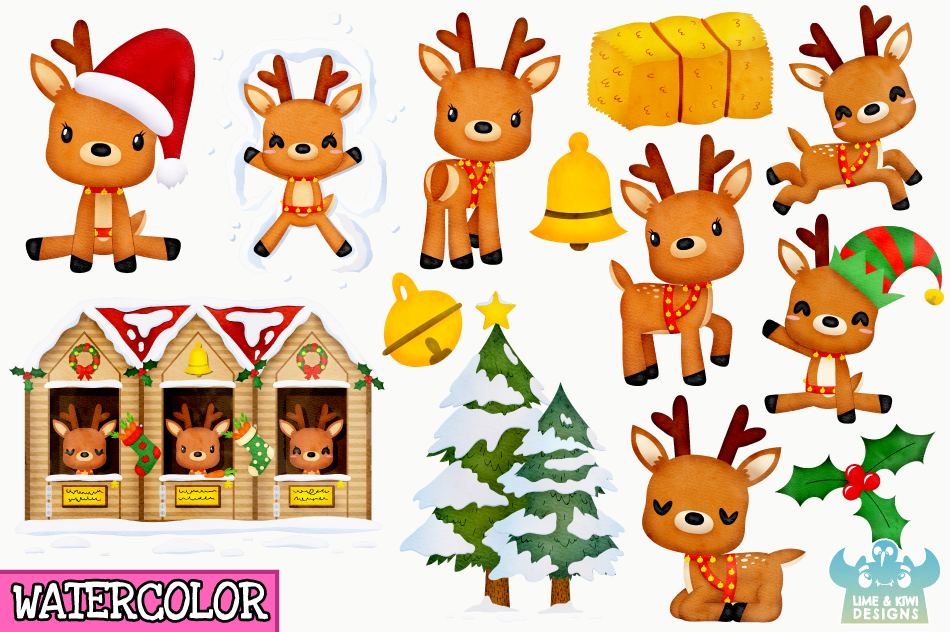 Christmas Reindeer Watercolor Clipart, Instant Download example image 2