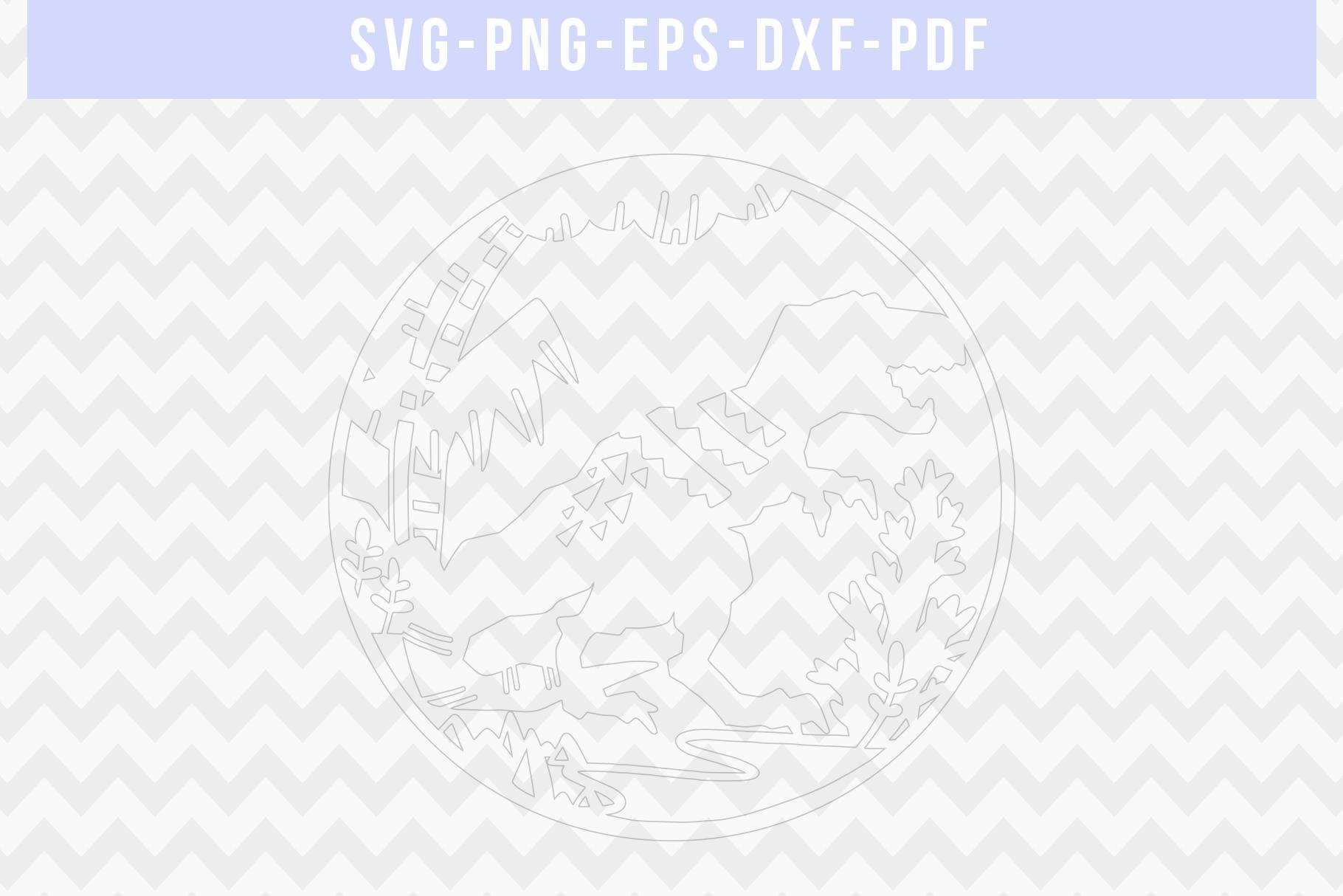 Dinosaur Papercut Template, T-Rex SVG, Baby Cut File DXF PDF example image 2