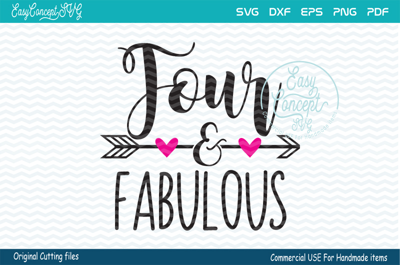 Four and Fabulous Svg, Four and Fabulous, Birthday Girl example image 1