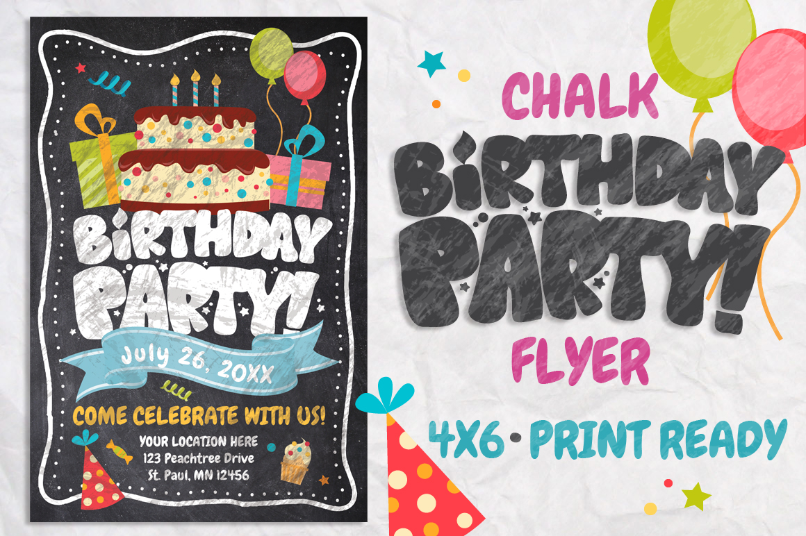 Chalk Birthday Flyer example image 1
