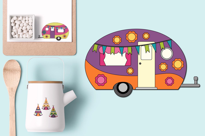 Happy camper Teepee Tent - Spring Caravan Graphics example image 5