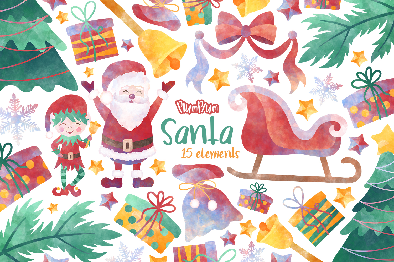 Santa Watercolor Cliparts example image 1