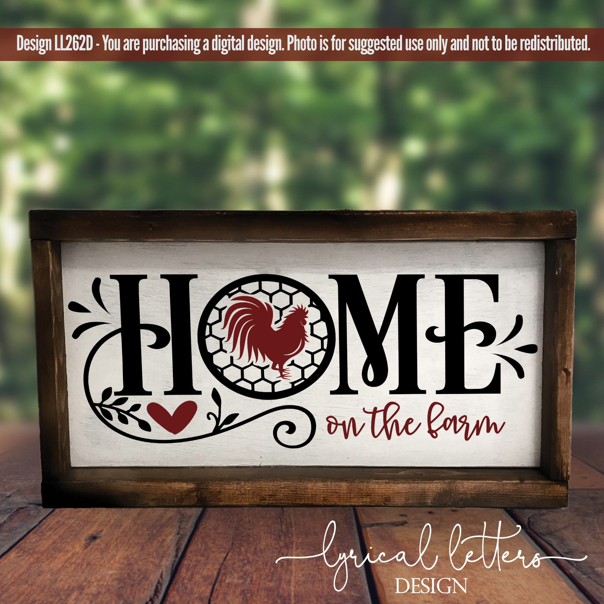 Farmhouse Home on the Farm with Rooster SVG DXF LL262D example image 2