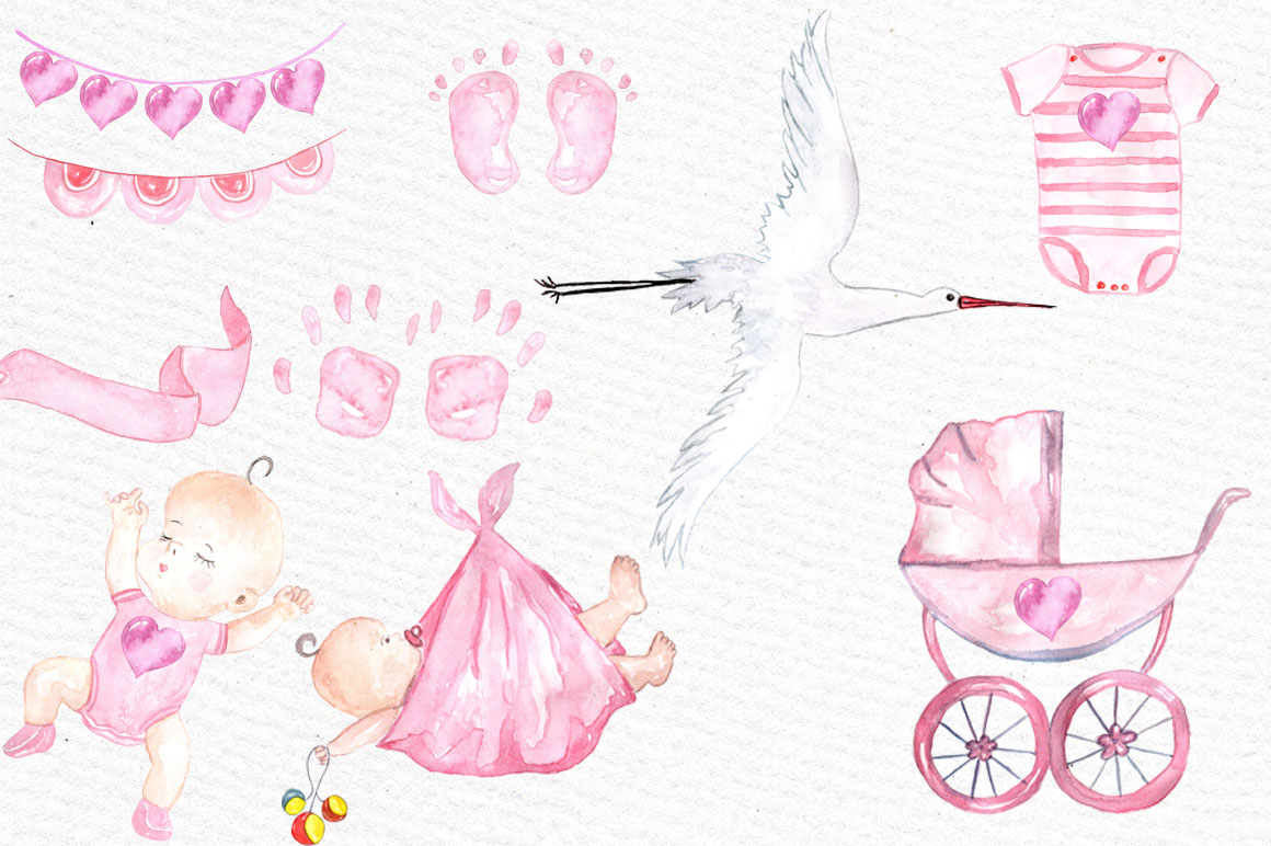 Watercolor baby shower girl clipart example image 2
