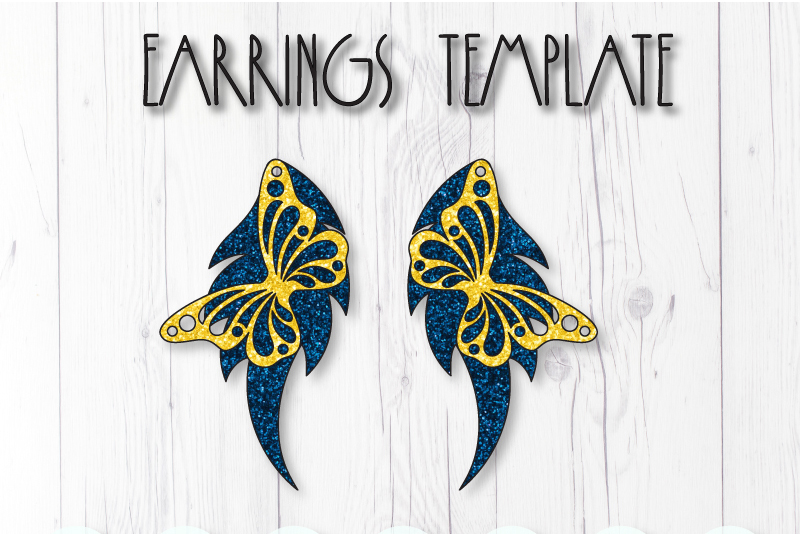 Butterfly earrings template SVG, DIY earrings template example image 1