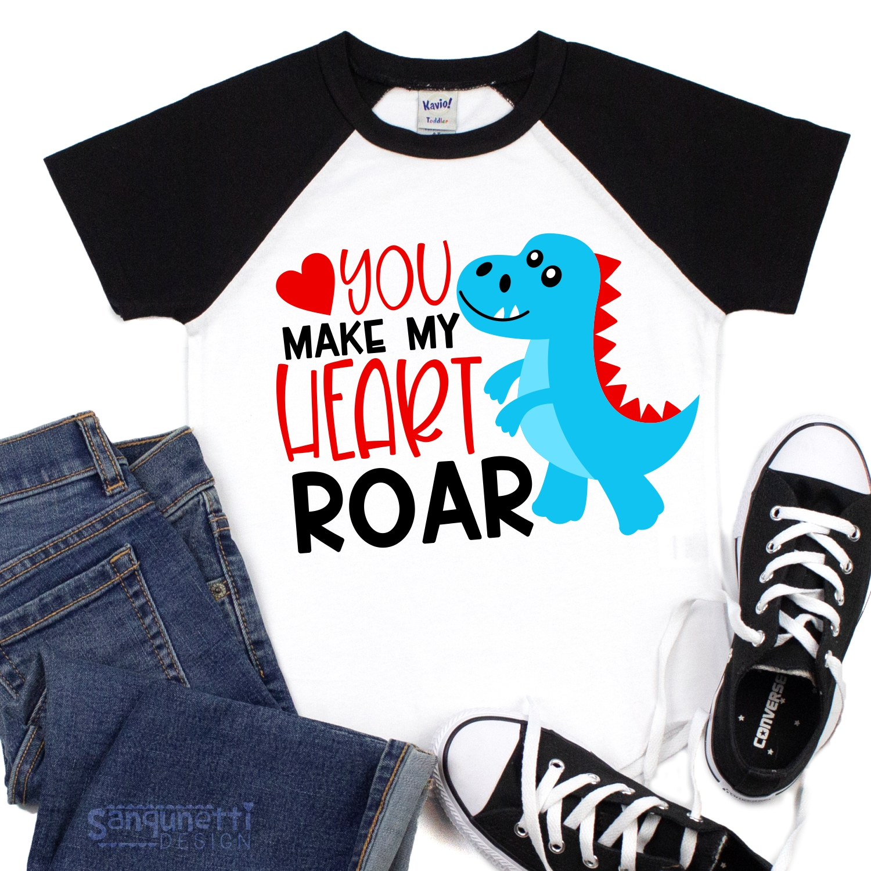 You make my heart roar Valentine SVG, dinosaur cutting file example image 2