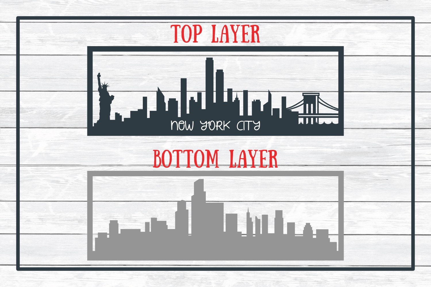 New York City Layered Skyline SVG Cut File for Crafters example image 3