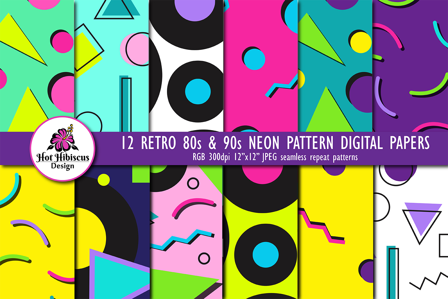 12 80s 90s Style Retro Neon Pop Art Pattern Digital Papers example image 1