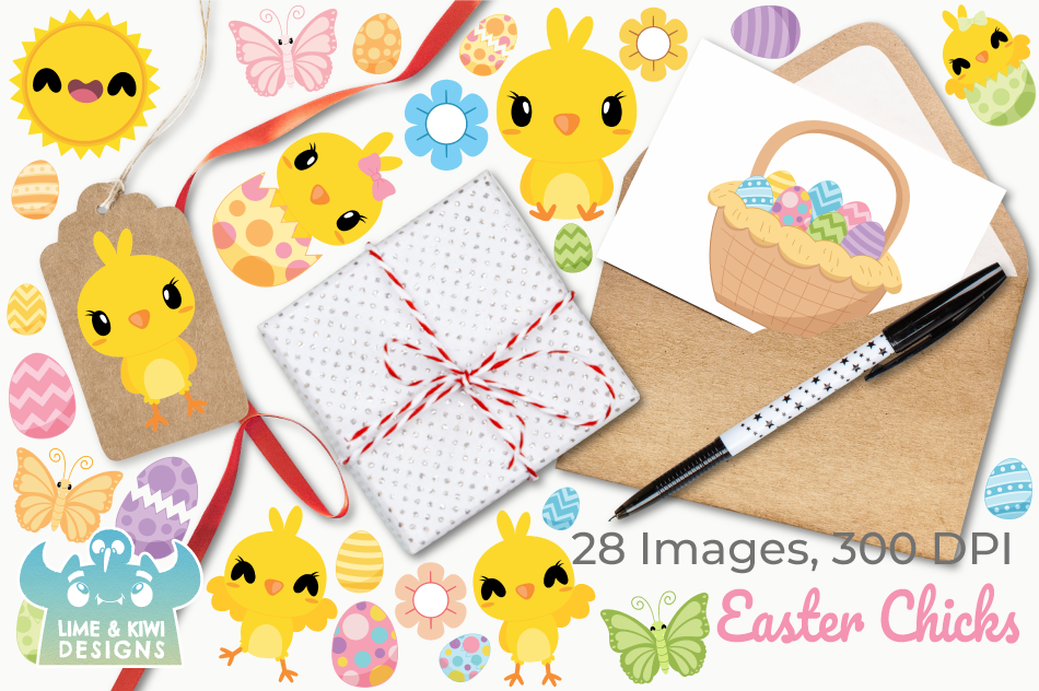 Easter Chicks Clipart, Instant Download Vector Art example image 4