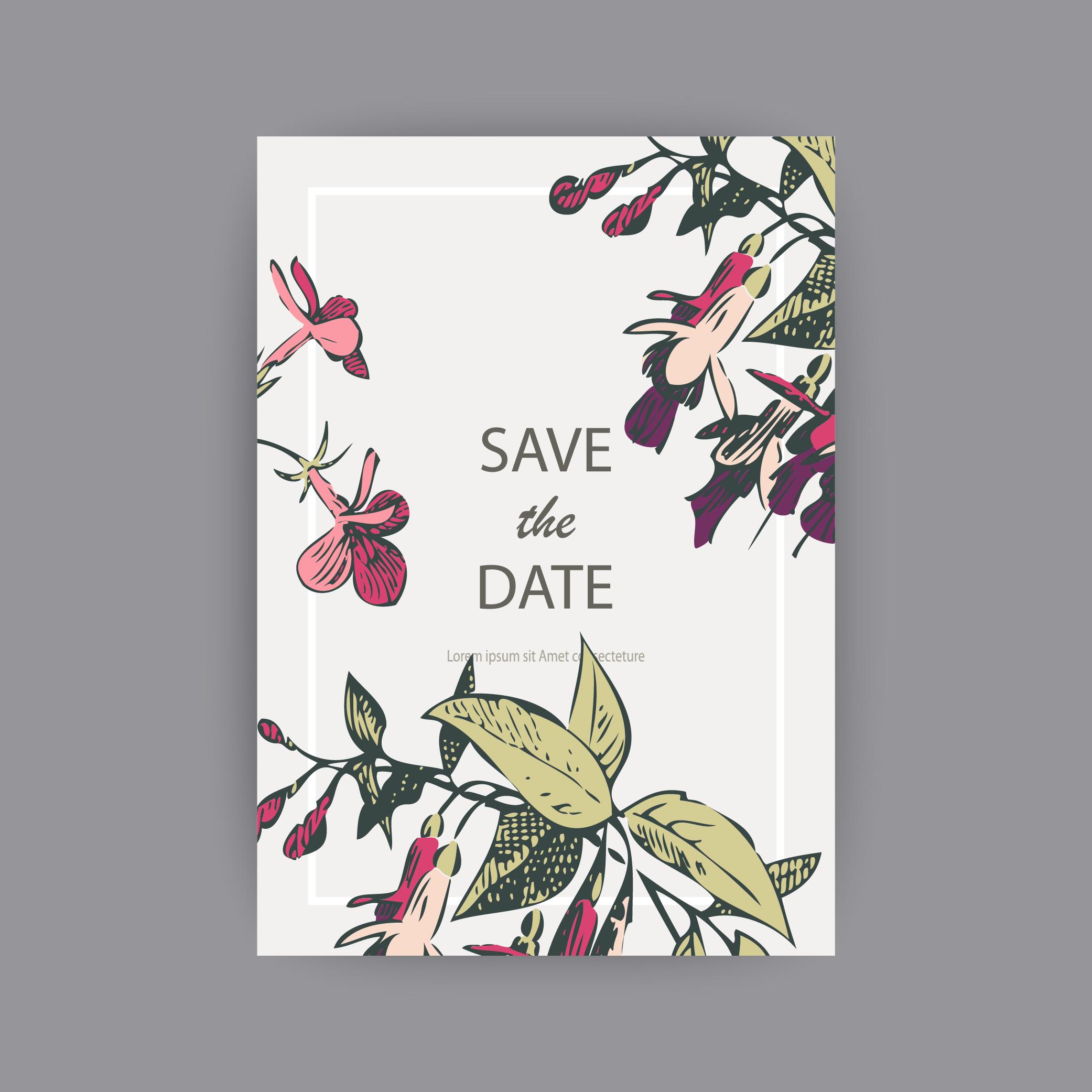 Fuchsia flower templates for card, invitation, wedding example image 4