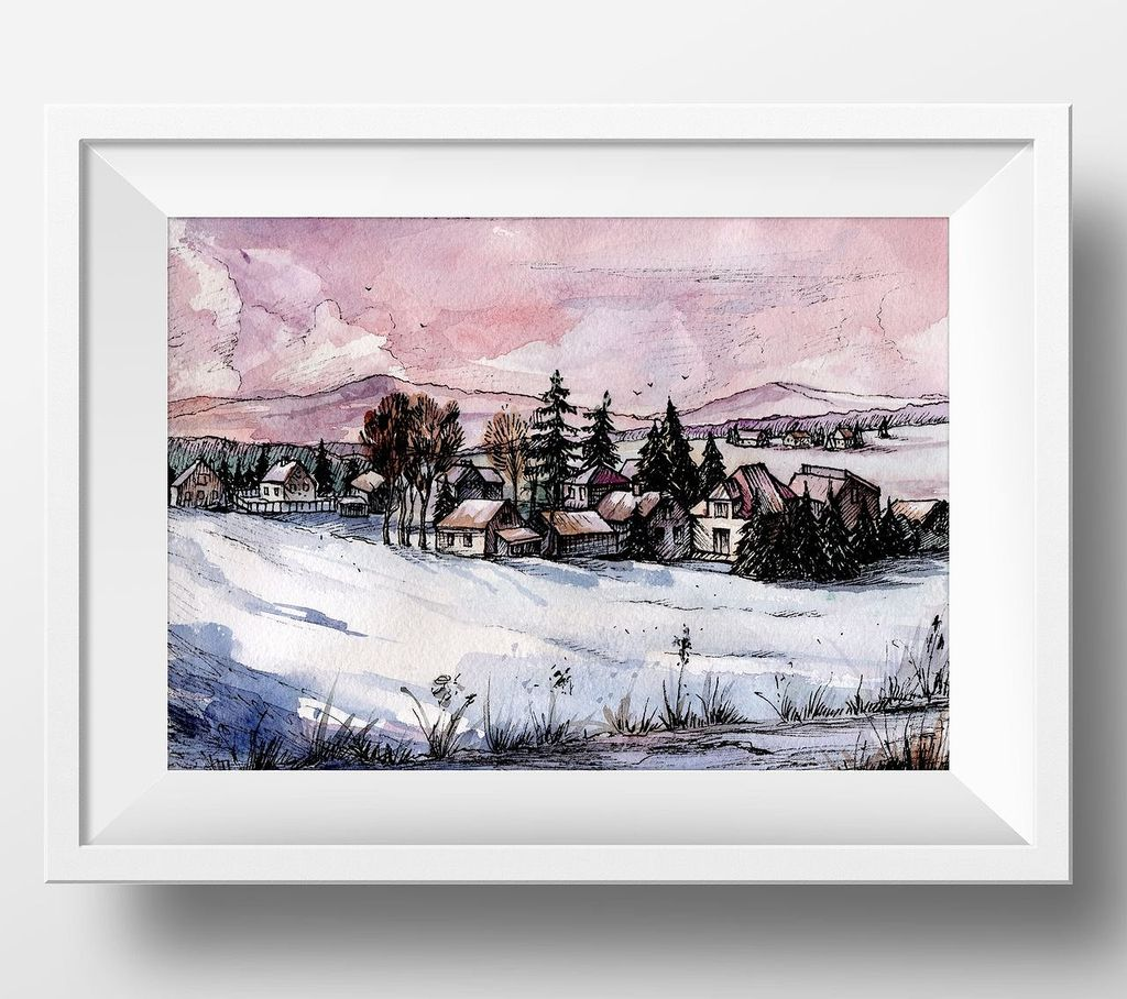 Countryside Watercolor Landscapes example image 9