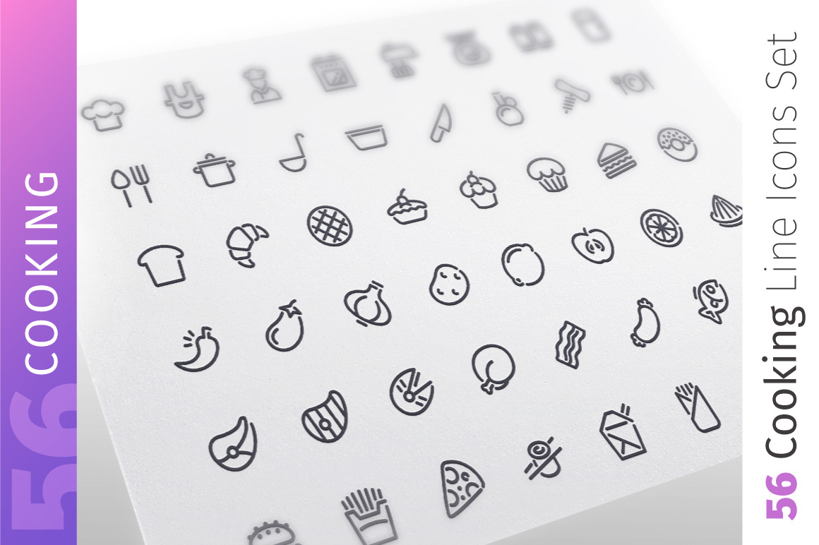 Cooking Line Icons Set example image 1