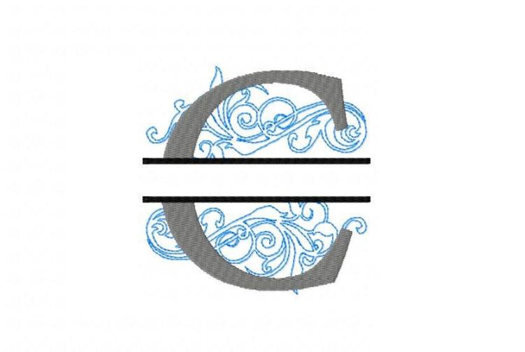 Embroidery Fonts Split Monogram, Monogram C, 4X4 5X7 6x10 example image 2