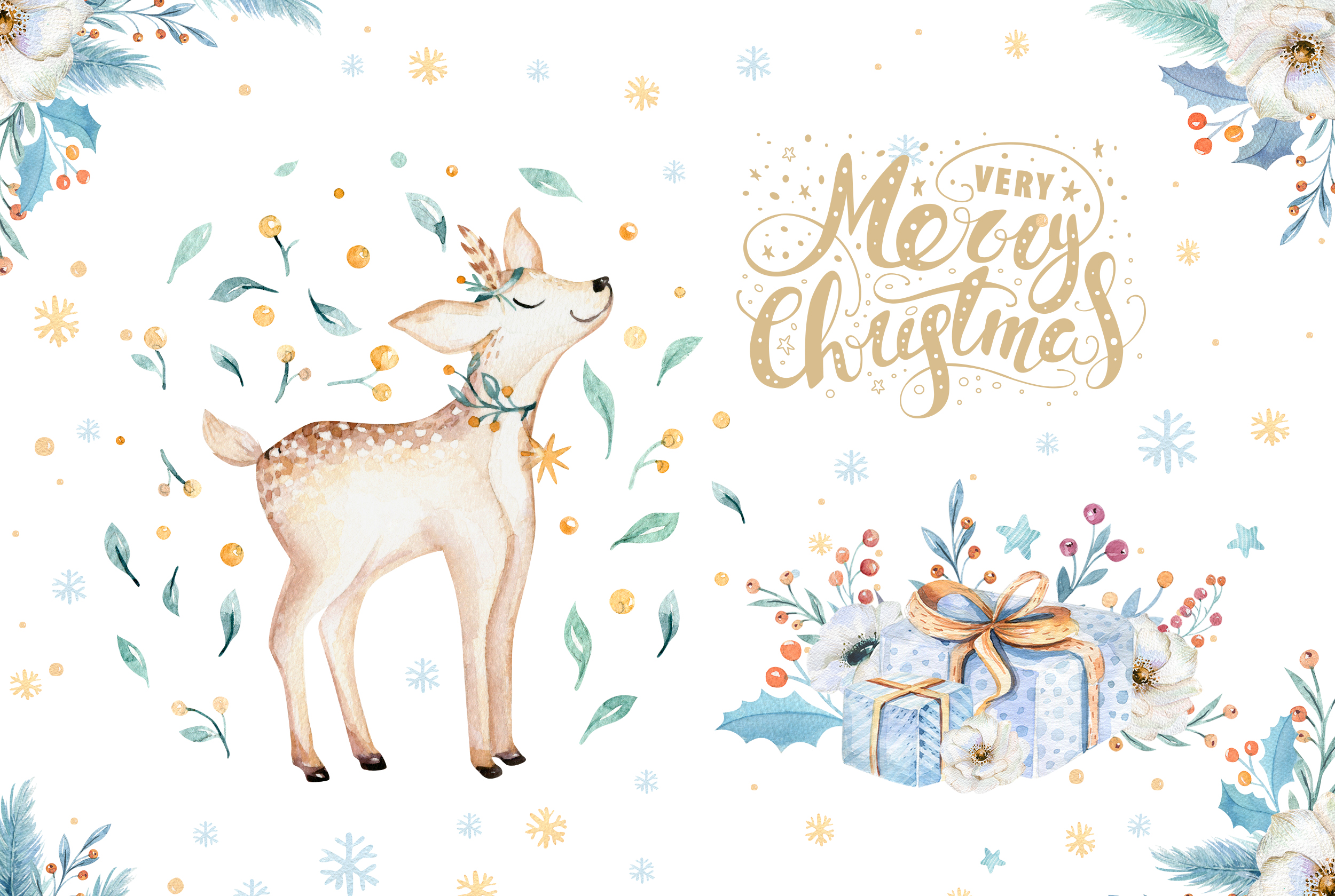 Watercolor Christmas deer example image 3