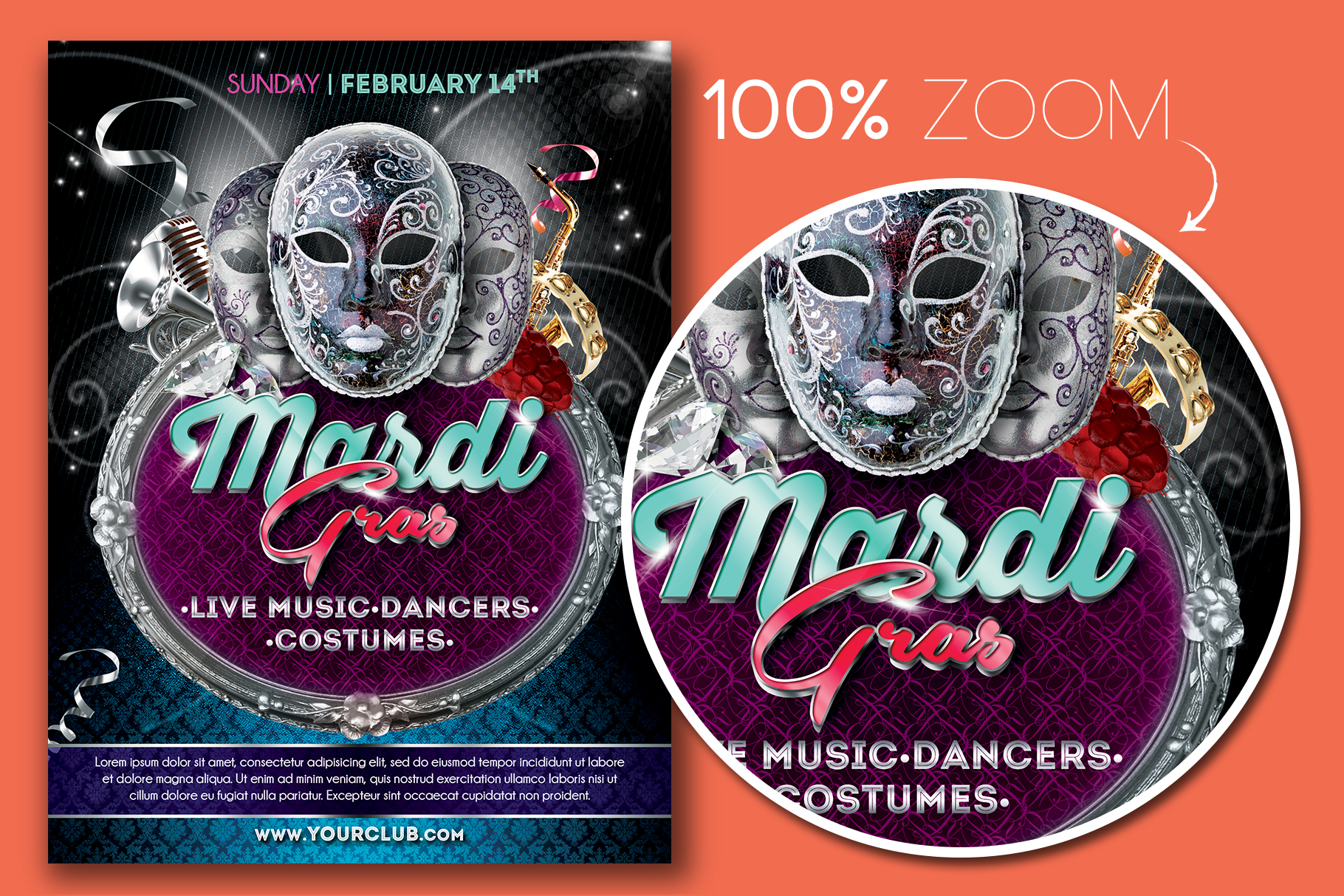 Mardi Gras Party Flyer Template example image 2