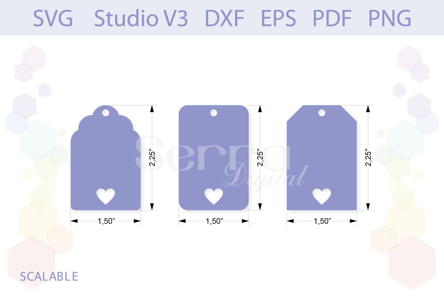 Heart Gift Tag Shapes cut files example image 2