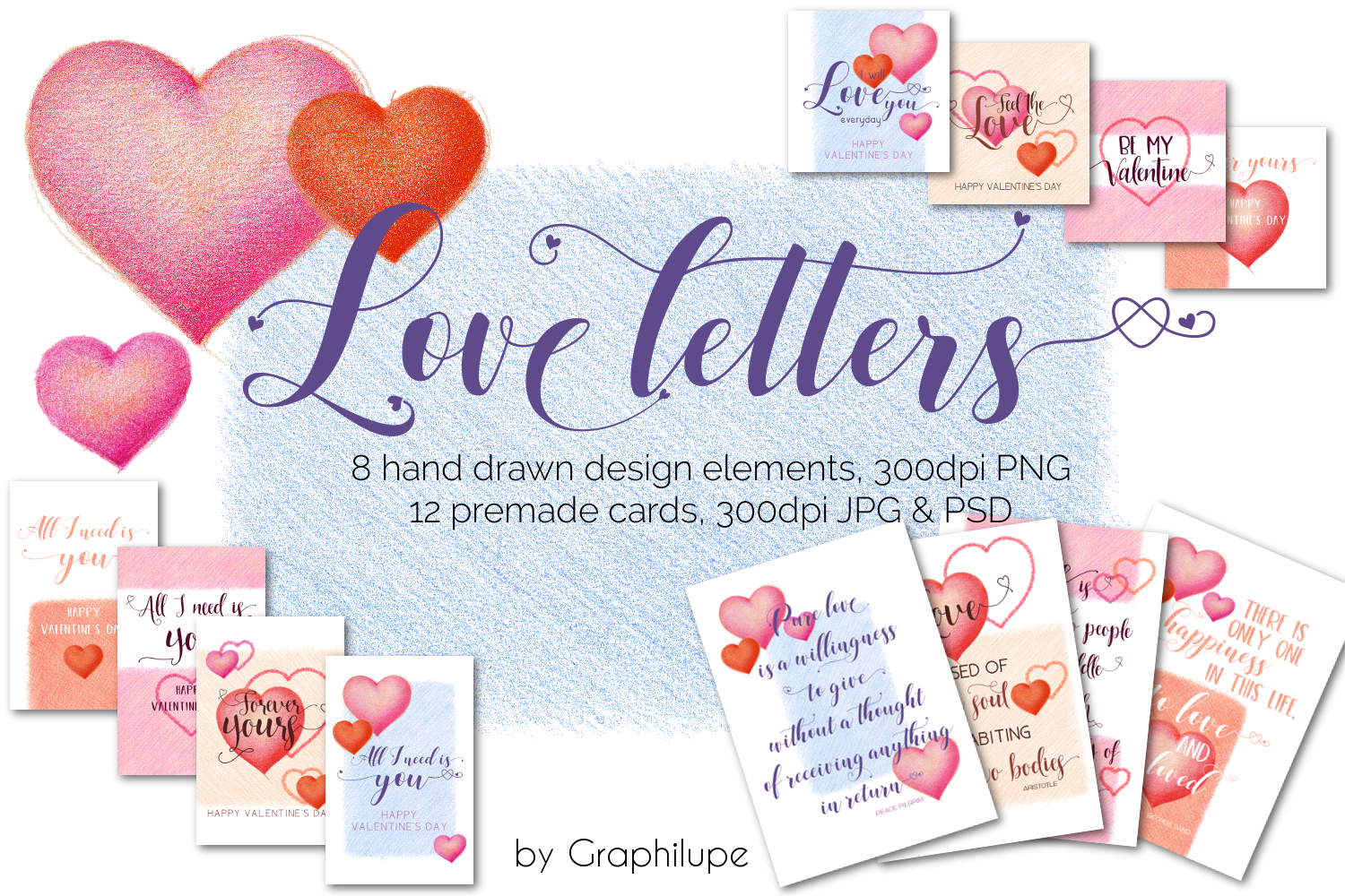 Love Letters - Hand-drawn Illustration Kit example image 1