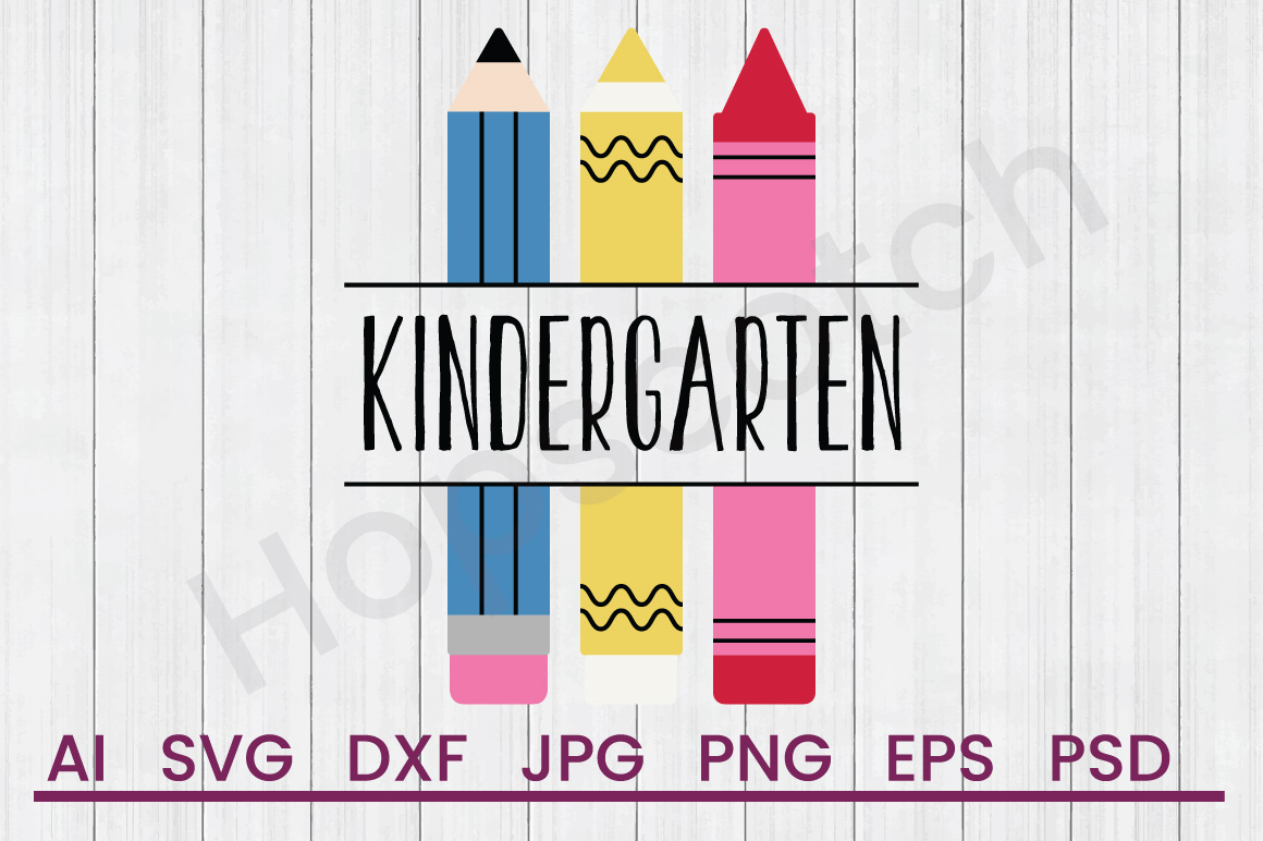 Crayons SVG, Kindergarten SVG, DXF File, Cuttatable File example image 1