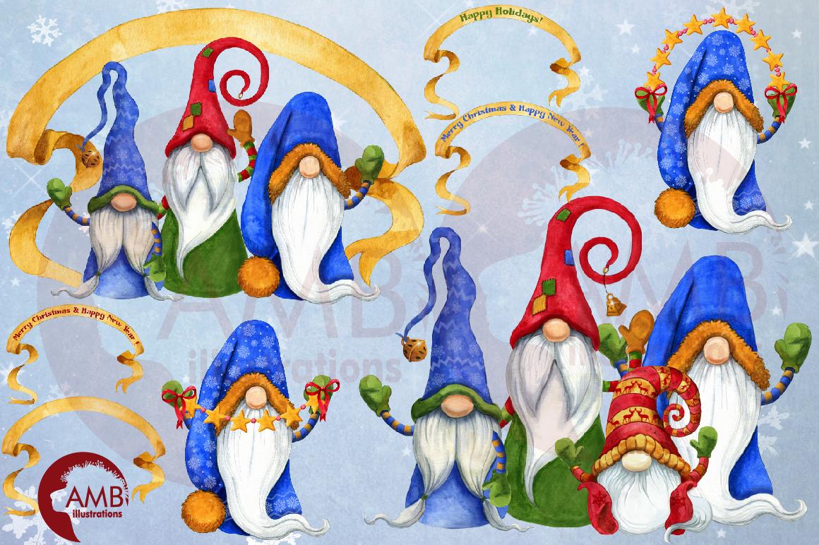 Christmas Gnomes, Scandinavian Gnomes, Watercolour Gnomes, example image 7