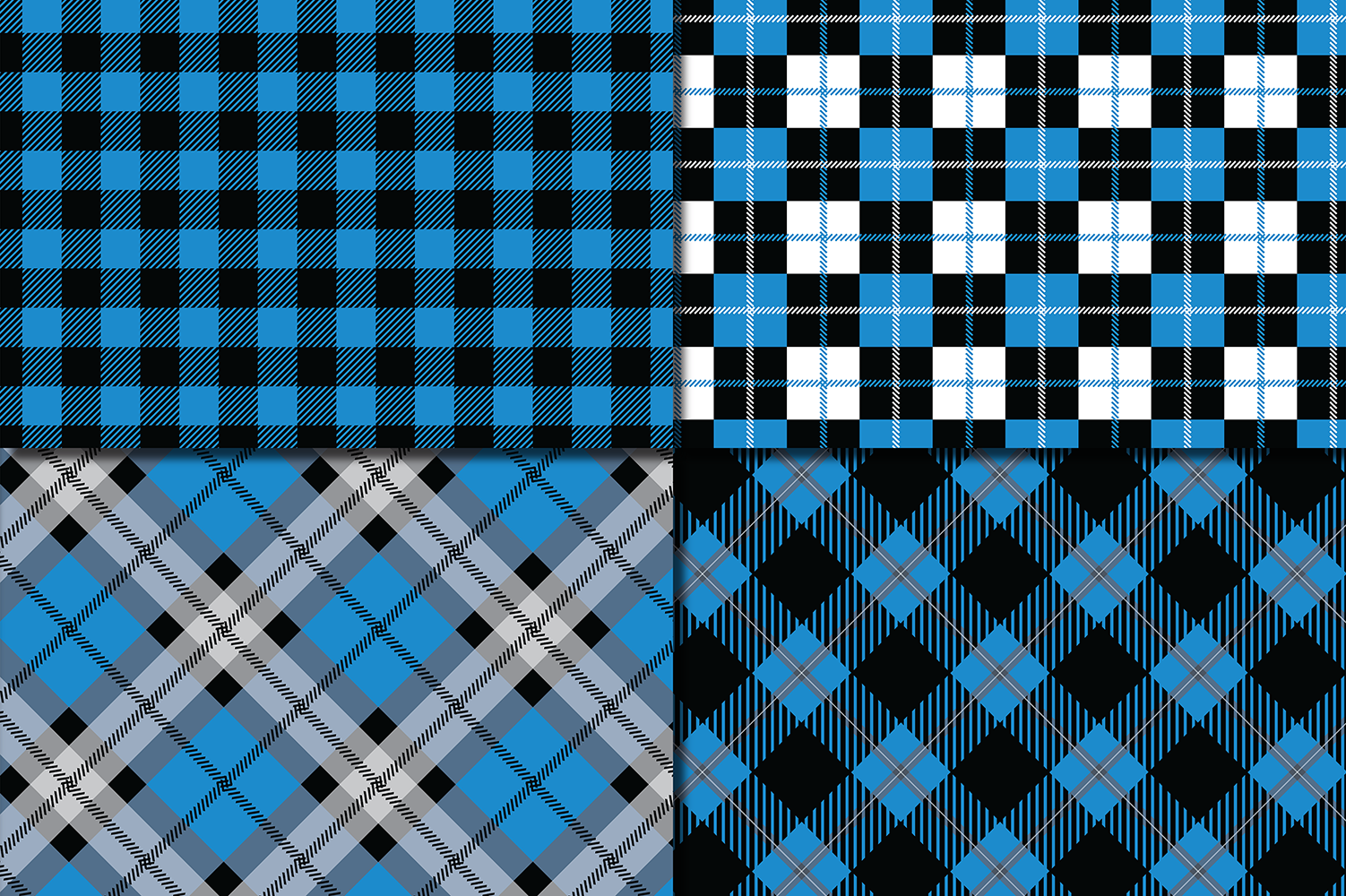 Blue and Black Plaid Digital Papers / backgrounds example image 2