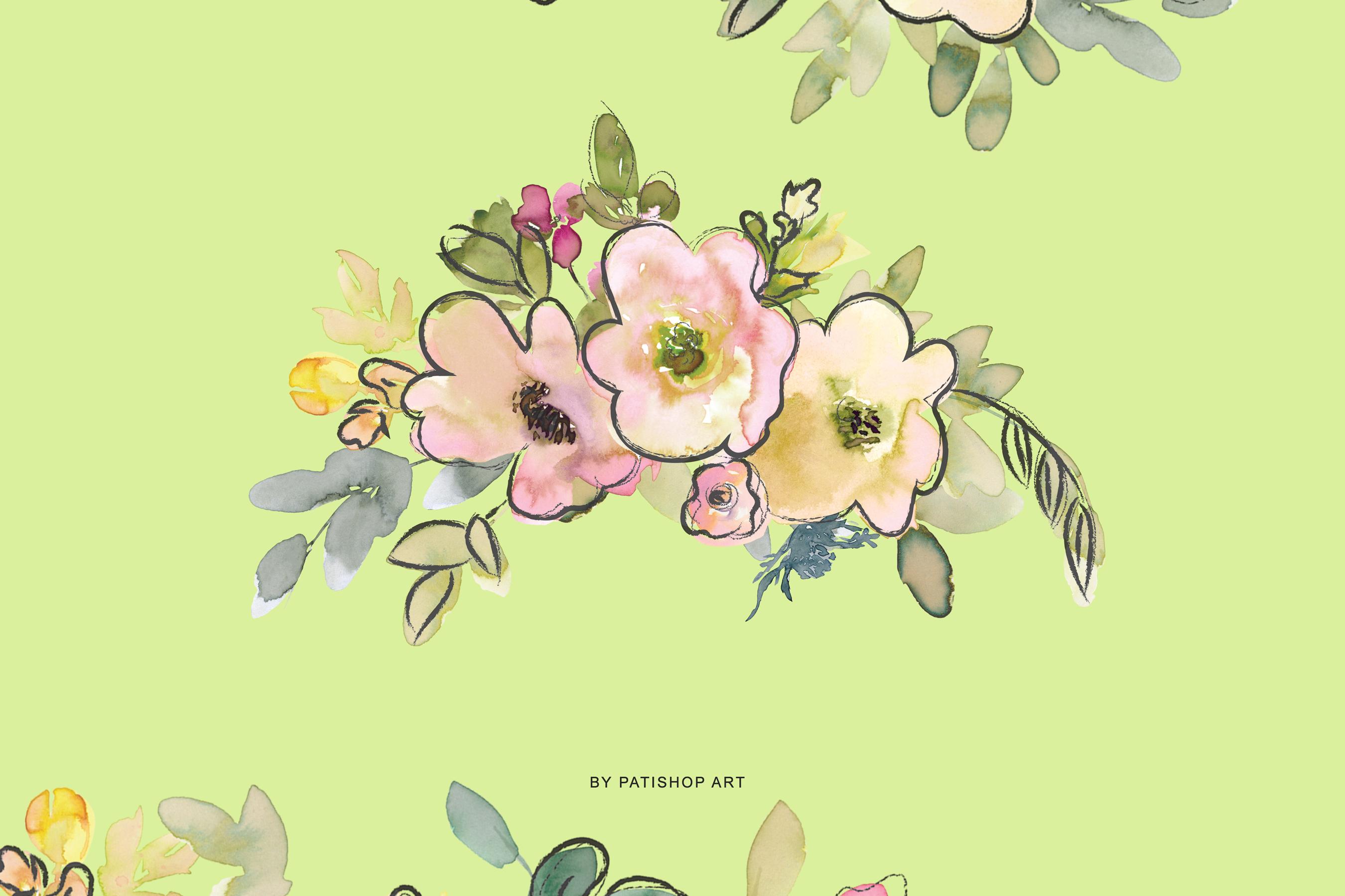 Watercolor Blush and Lemon Colors Floral Arrangements example image 6