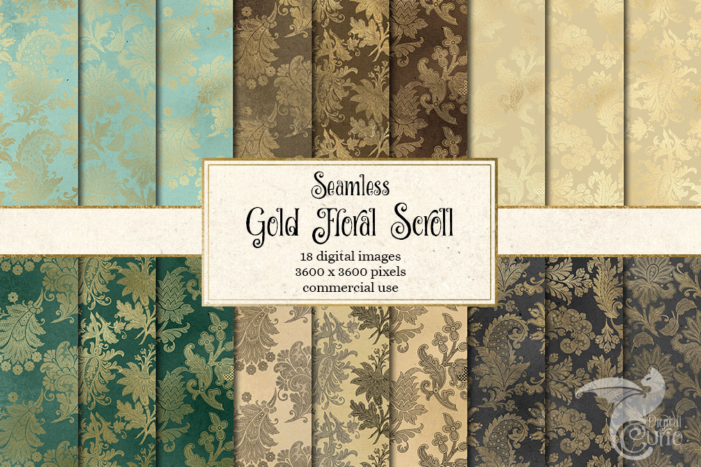 Gold Floral Scroll Digital Paper example image 1