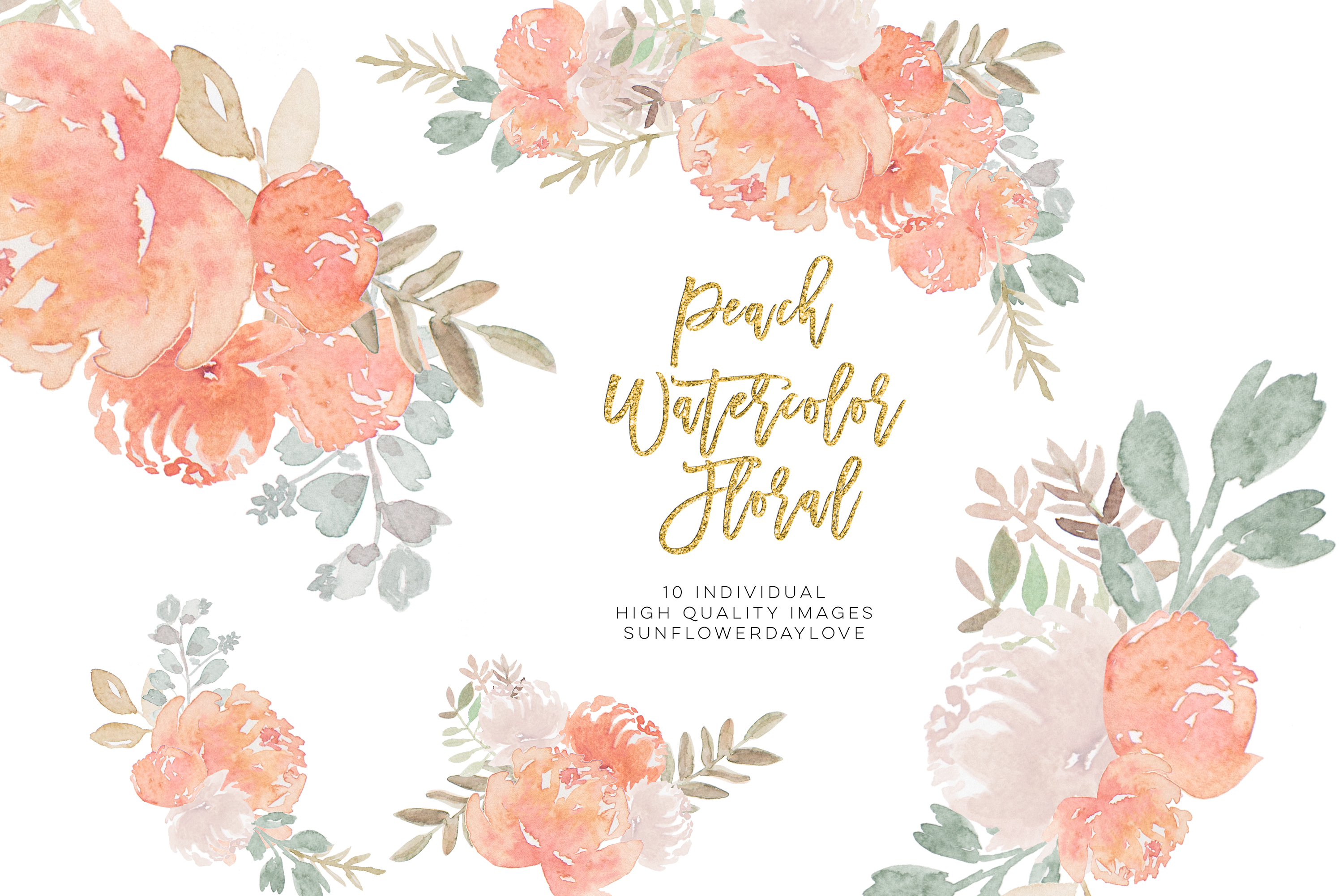 Peony Watercolor Clipart, pastel floral Watercolor Clipart, example image 1