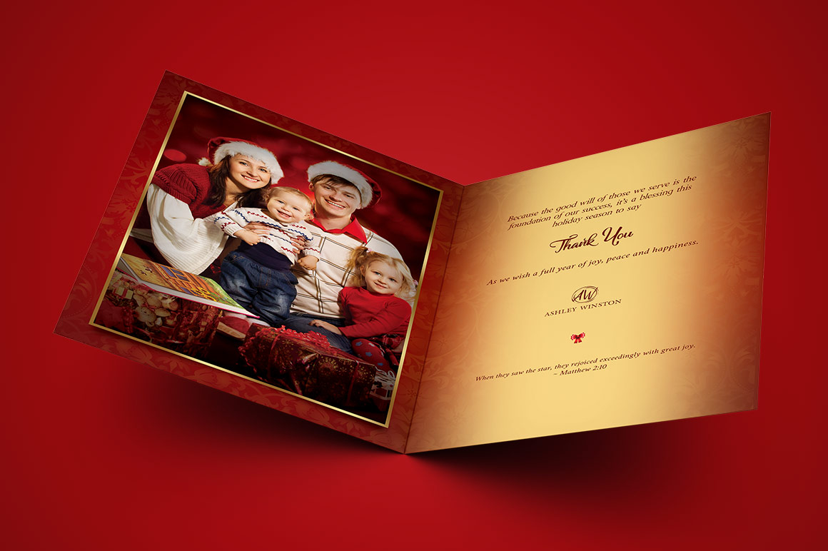Happy Christmas Greeting Card Template example image 2
