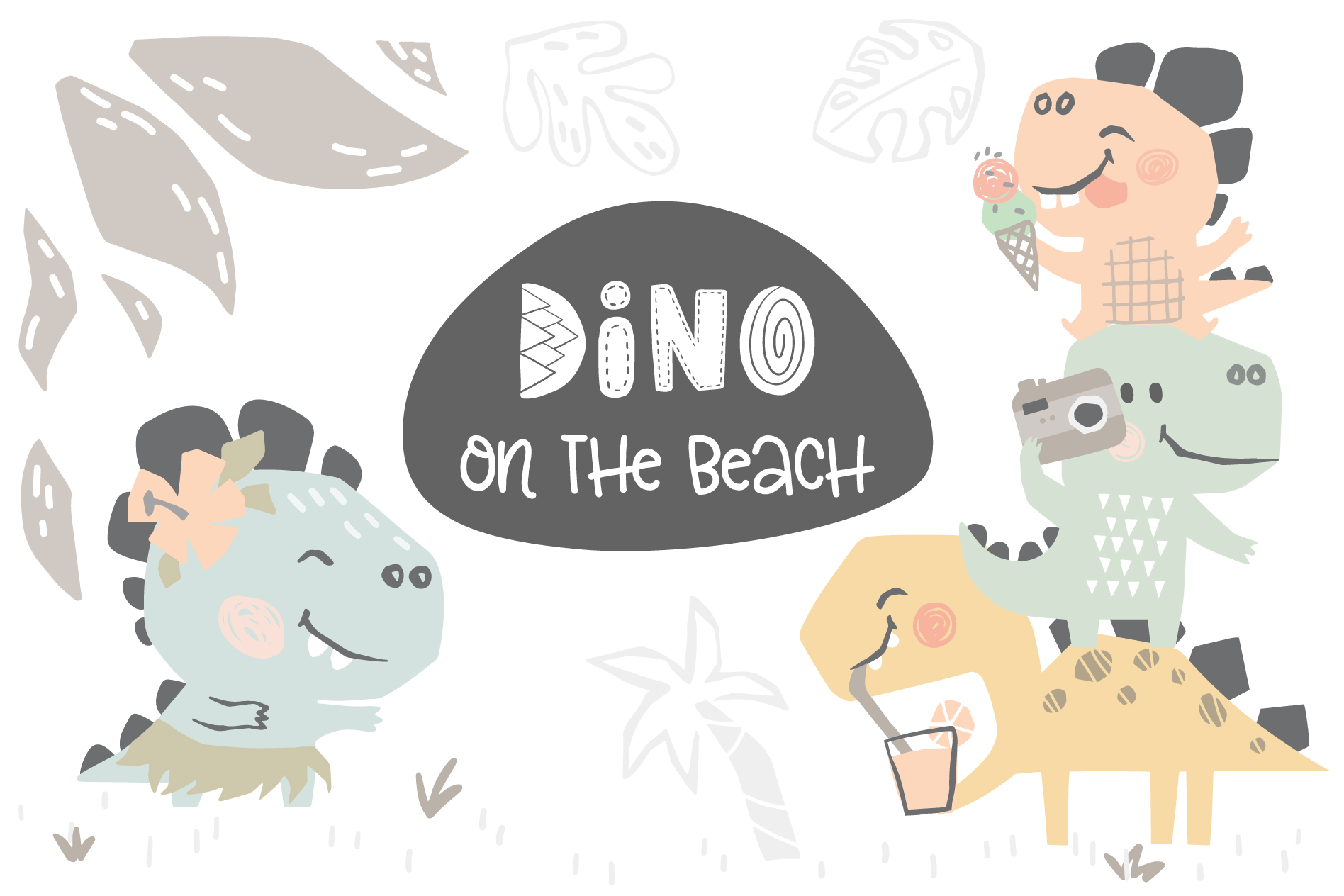Dinosaurs on the beach. Kids vector example image 1