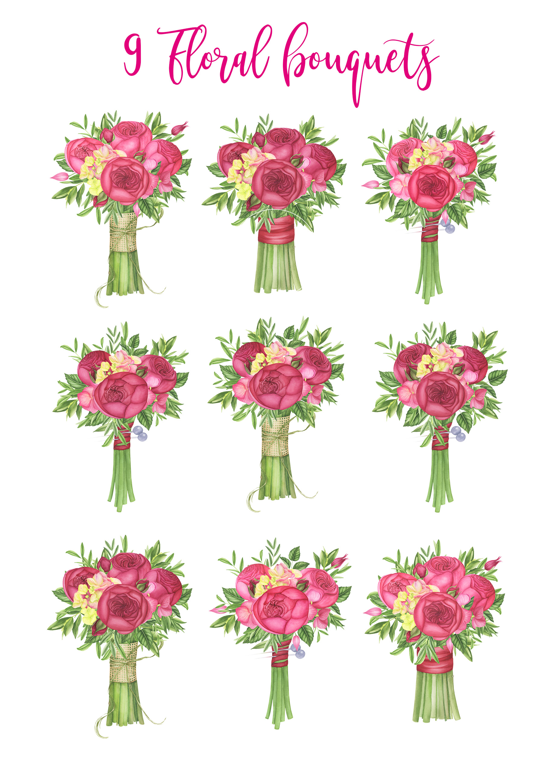 Watercolor Summer flowers clipart example image 5