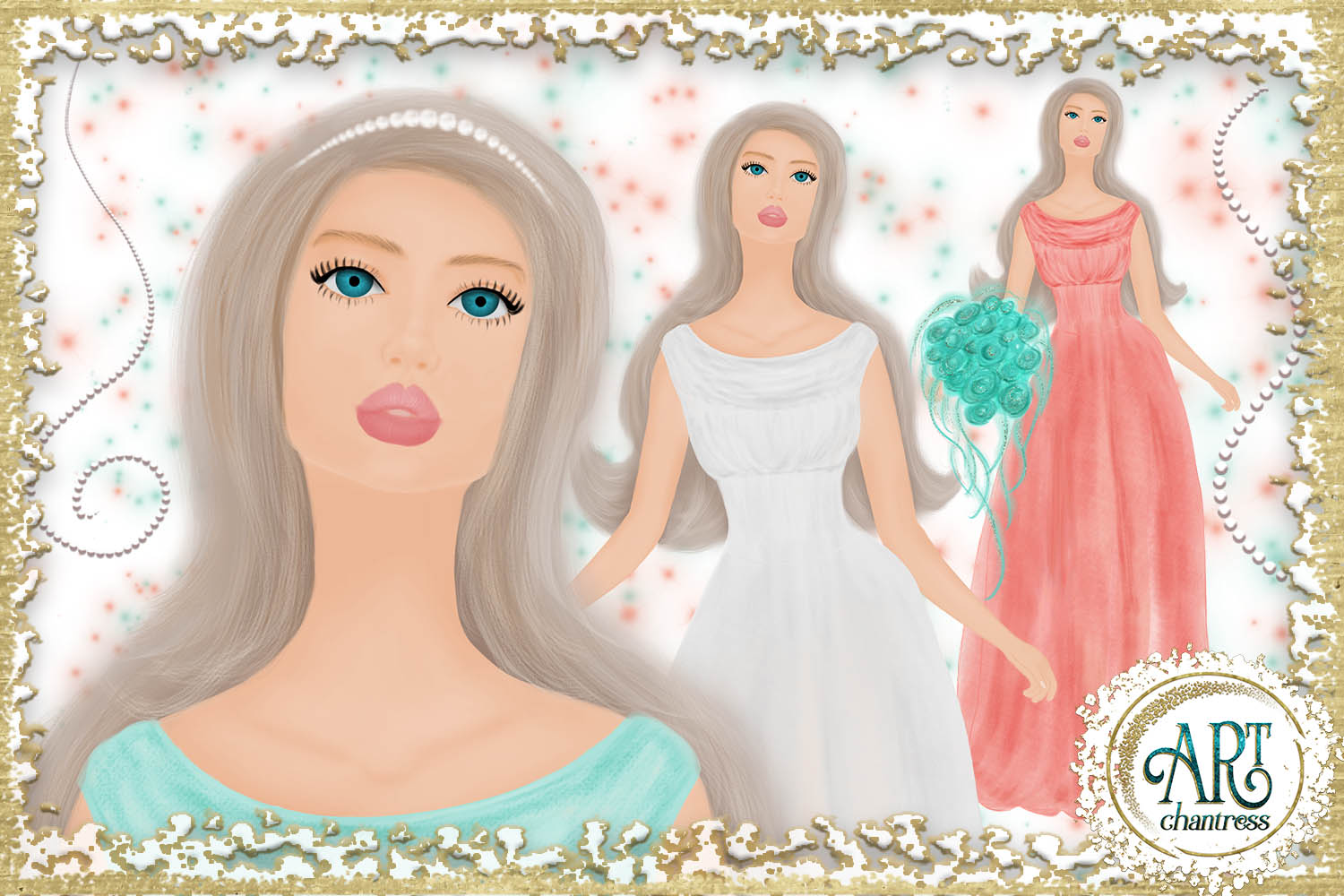 Wedding party, bride clipart in white, coral and teal example image 6