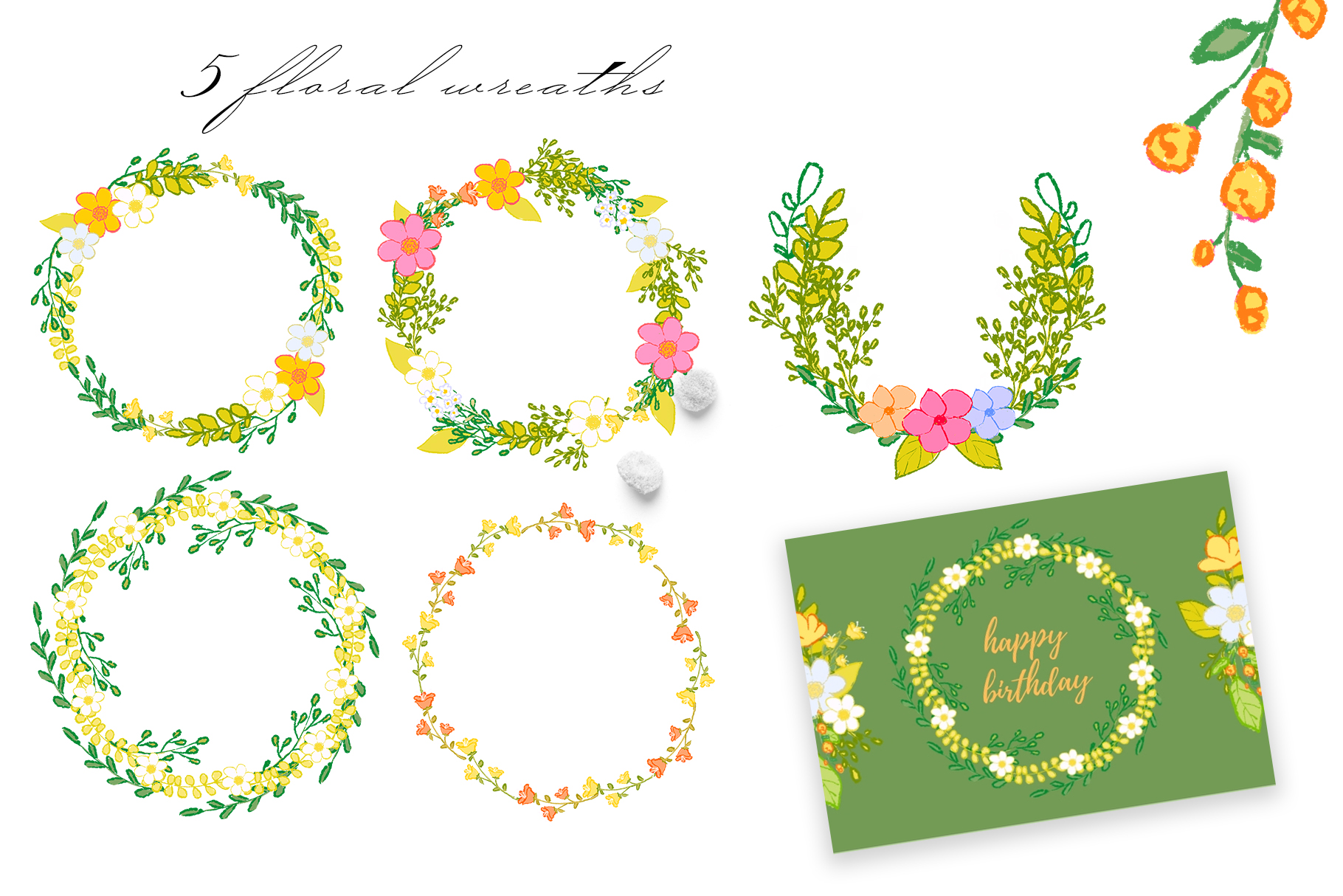 Hand draw colorful spring flowers example image 3
