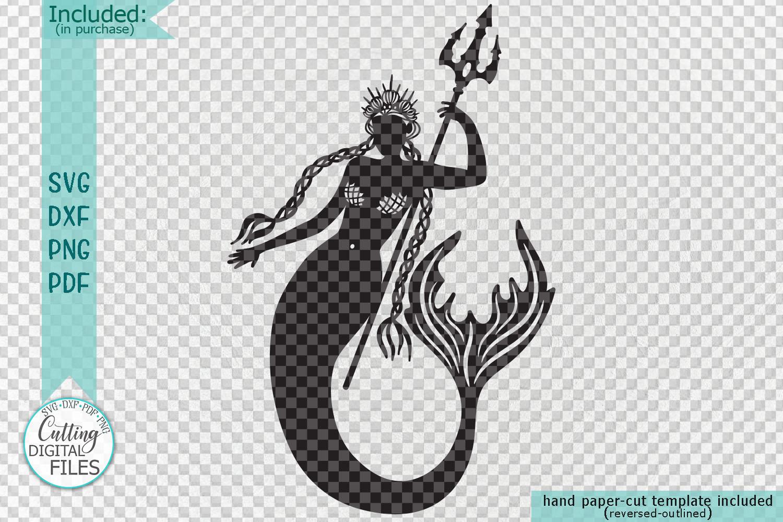 Mermaids Silhouette Bundle svg dxf machine cut templates example image 5