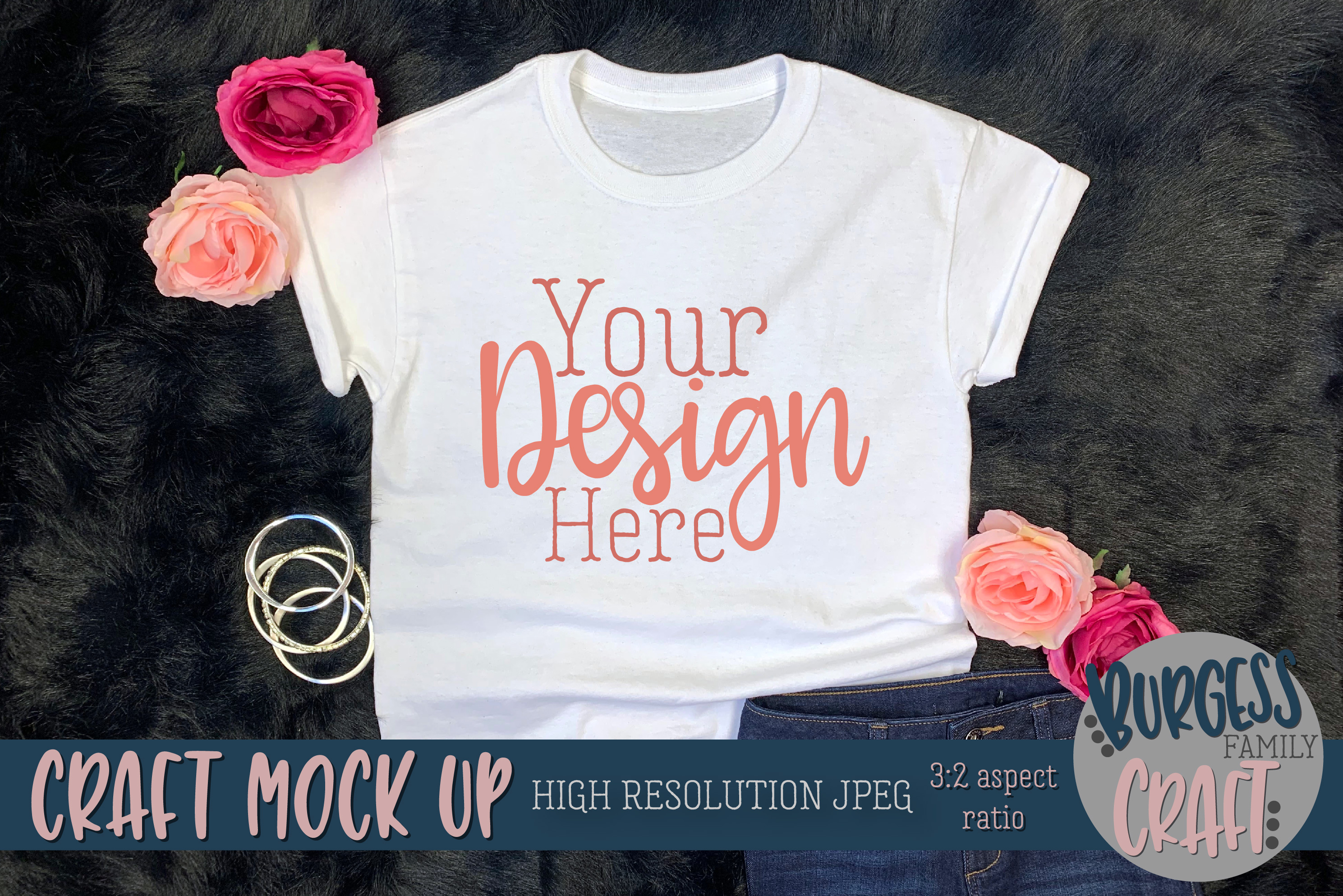 Youth Shirt Pretty w/Jeans Craft mock up | High Res JPEG example image 3