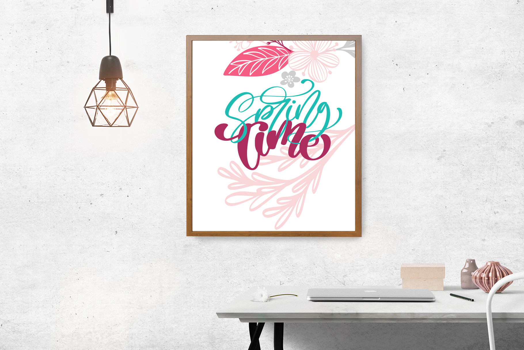 Spring vector lettering & floral greeting card example image 12