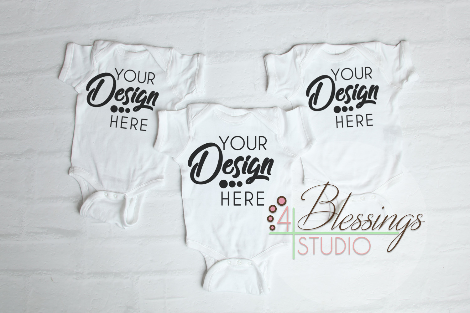 Triplet Three Blank White Baby Bodysuits Shirt Mockup example image 1